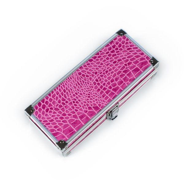 Piórnik metalowy - różowy