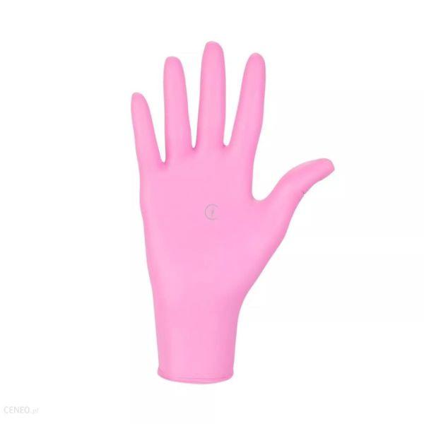 Różowe rękawiczki, 100szt - rozm.M
