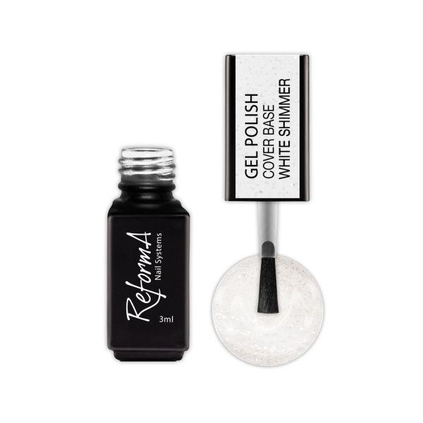 Gel Polish Cover Base White Shimmer, 3ml