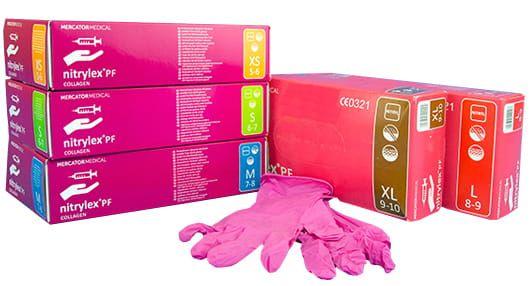 Różowe rękawiczki, 100szt -  rozm.S