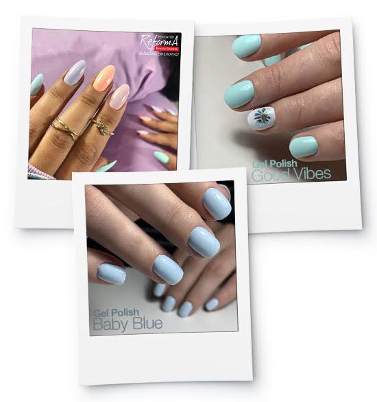 kolaż pastelowe paznokcie na wiosnę