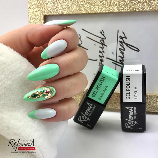 odcienie zieleni na paznokciach